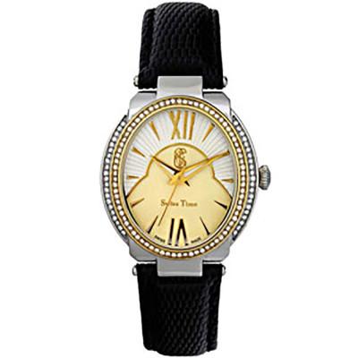 ساعت مچی زنانه اصل |برند سوئیس تایم | مدل ST-401-TTGPBlk/Wh.Gol